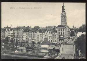 1915 ELBLĄG - STADRPANORAMA AM ELBINGFLUSS